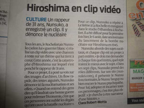 journal sur ouest rochefort rap hiroshima nunsuko